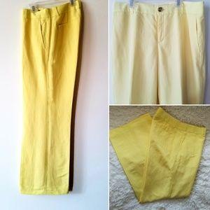 Yellow wide leg Banana republic linen slacks
